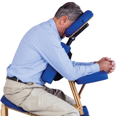 Man in vitrectomy recovery chair showing position for posturing