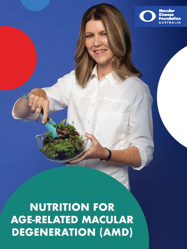 Image shows cover of fact sheet with title and image of woman preparing salad.