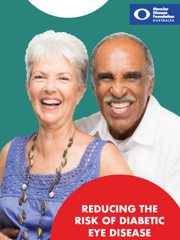 Image of cover of fact sheet called reducing risk of diabetic eye disease. Cover contains the title, MDFA logo and image of senior couple.
