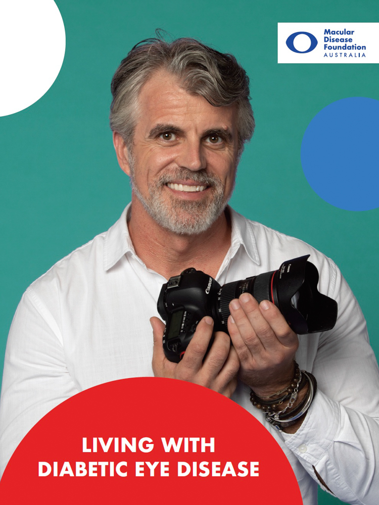 Image of cover of Living with diabetic eye disease fact sheet showing title of publication and picture of man in his 50s.