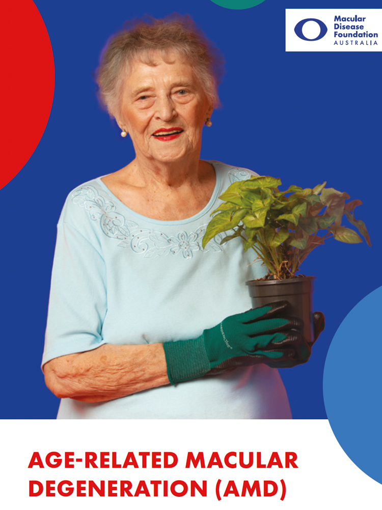 AMD booklet cover showing a senior woman with pot plant