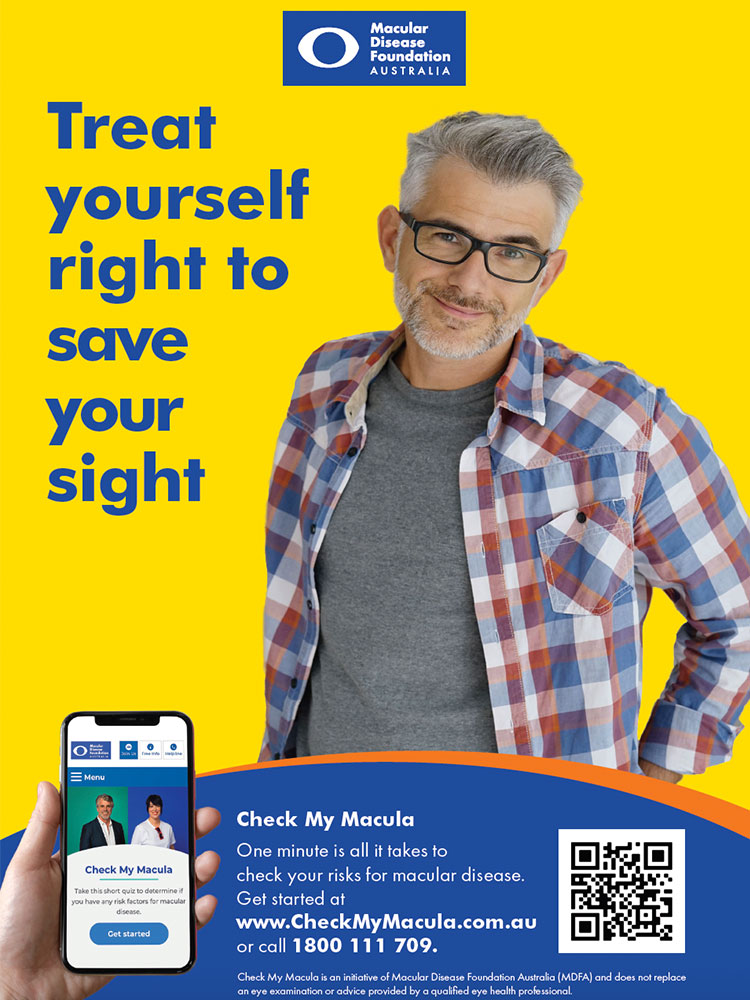 A poster for Check My Macula with a man in glasses smiling at the camera.