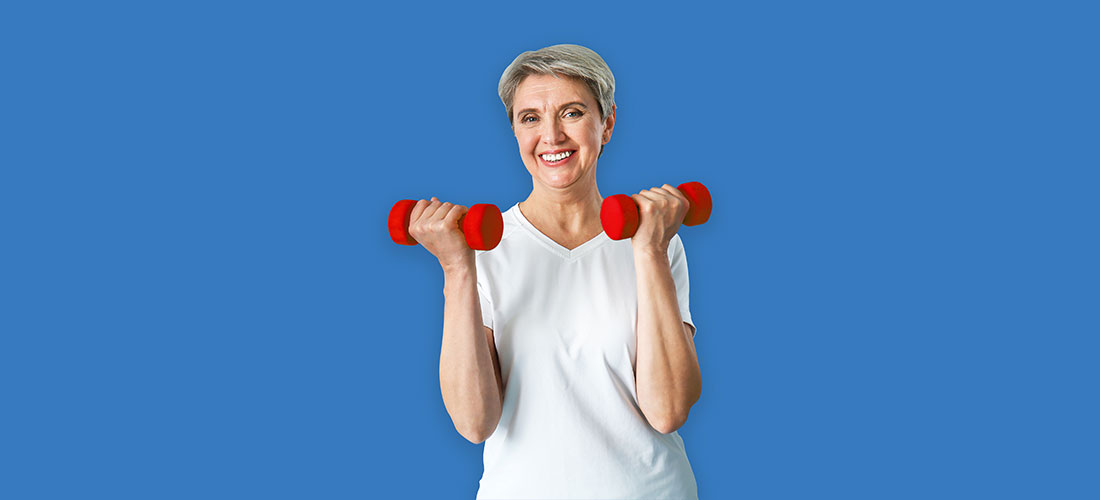 Lady with red dumb bells