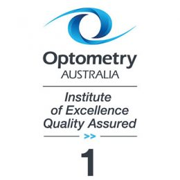 Image shows Optometry Australia Institute of Excellence Quality Assured logo for one hour of learning.